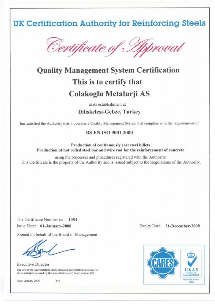 Çolakoğlu Metalurji Kalite Sertifikası ISO 9001